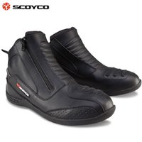 authentic riding boots - 2016 New Authentic SCOYCO motorcycle racing boots warm leather boot knight riding off road race shoes black color size