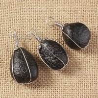 amorphous black - Very beautiful Silver winding black meteorites amorphous pendant
