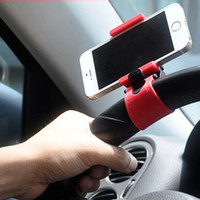 Wholesale 2015 New Universal Silicon Car Steering Wheel Phone Socket Mini Holder Stand For Iphone Mobile Phone GPS DHL