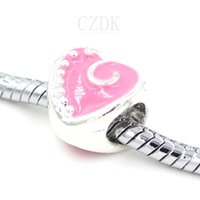 Wholesale DY Heart Metal Charm Bead European Big Hole Loose Bead Charm Beads Fits DIY Snake Chains Style Bracelets