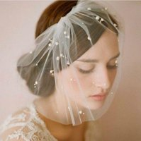 Wholesale Short Cheap Wedding Veils Blusher Tulle Beads White Ivory Bridal Birdcage Veils Tiaras Headwear Accessory In Stock