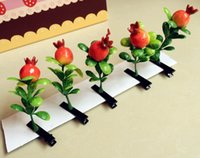apple hair clips - artifact simulation of plant hair clips fashion hairpin flowers grass flowers fruit cherry apple peppers bean sprout hair clips D4