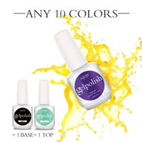 Wholesale High quality gelpolish gel nail polish soak off led uv nail gel lacquer set colors BASE COAT TOP COAT