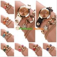 Precio de Cuero reloj pulsera corazón-Señora Women de cuero de imitación del Rhinestone forma de corazón de la pulsera del brazalete del reloj del dial