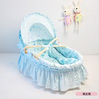 Wholesale Little Newborn Bassinet for Baby CM Steady Corn Bran Woven Basket for Trip Baby Carry Cot Cotton Cloths Baby Bed Colors