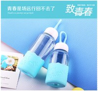 Wholesale Lovely creative gift water glass bottle cup for girls and women with high temperature ml ml pink green blue corlors for lovers gift