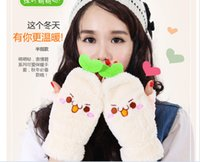 Wholesale Winter new Korean style cartoon touchscreen gloves thick warm plush half finger gloves Fingerless Gloves cute face and big eyes squinting