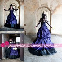 purple plus size wedding dresses - 2015 Cheap Plus Sizes Long Sleeve Vintage Medieval Gothic Masquerade Black and Purple A Line Ball Halloween Party Corsets Wedding Dresses
