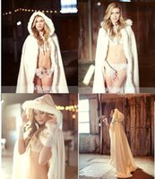 Wholesale 2016 New Stunning Hooded Bridal Capes Christmas Wedding Cloaks Faux Fur For Winter Long Sweep Train Wedding Bridal Cloak Bridal Wraps CPA378