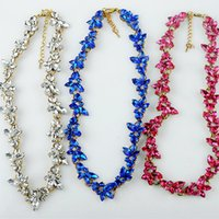 bib necklaces for sale - New Design hot sale Fashion Charm Crystal bib choker Necklace rhinestone gem flower Chain Necklace jewelry for women