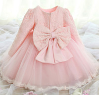 Wholesale Children Pleated Dresses - fashion girl lace gauze Long sleeve bow princess Tutu dress spring autumn children baby kids tulle pink white party Pleated ball gown dress