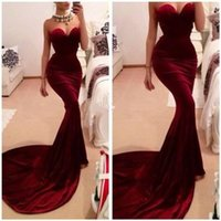 best designer gowns - Best Selling Unique Designer Burgundy Mermaid Prom Dresses Women Long Train Flattered Fitted Red Wine Velvet Elegant Party Gowns