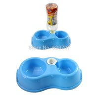 Cheap Convenient Dog Cat Double Bowl Pet Feeding Bowl With Automatic Water Dispenser Dish Supplies