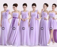 Wholesale new women cheap bridesmaid chiffon dress long party evening formal plus size lilac champagne dresses under