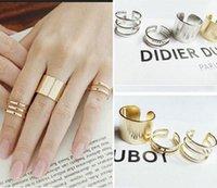 Cheap 3PCS Rings Women Urban Gold Stack Plain Cute Above Knuckle Midi Ring Alloy Set