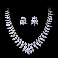 anniversary counter - Gorgeoas and Luxury Jewellery Counter Top Luxury Jewellery Cubic Zircon Necklace Earrings Jewellery suit for wedding