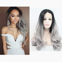 Cheap 130% density two tone ombre grey human hair full lace wigs with baby hair ombre lace front wig 1b grey dark roots