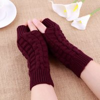 Wholesale hot Women Knitted Fingerless Winter Gloves Soft Warm Mitten