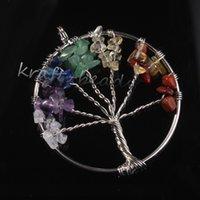 Wholesale Fashion Chakra Crystal Stone Tree Of Life Pendants Reiki Healing Charm Jewelry Natural Stone Pendant For Women