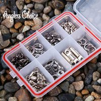 fishing hooks stainless steel - 70PCS Stainless Steel Fishing Snap Barrel Sling Rolling Swivels Fishing Tackle Accessories Fishing Hooks With Box