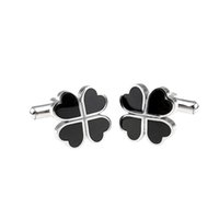 Wholesale Black Four leaf Clover Novelty Lucky Wedding Party Gift Cufflinks Cuff Links