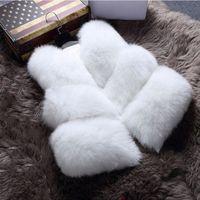 Wholesale New Winter Women s Thick Warm Faux Fox Fur Vest High Quality Fashion O Neck Short Fur Coat For Women Outwear PC038