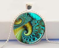 aqua swirls - SACRED GEOMETRY Pendant Aqua and Yellow Flourish Swirls Fibonacci Spiral Gifts for Her Swirl Jewelry Aqua Necklace Sacred Geometry Jewelry