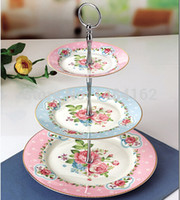 Wholesale New Arrival Luxury Bone China with Gold Edge Vintage Floral Pattern English Afternoon Tea Tier Fruit Cake Stand Plate