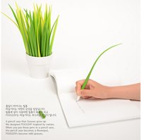 Wholesale Novelty Grass Leaf Pen Creative Korean Stationery Grass blade Pen Pooleaf Ballpoint Pens Small Fresh Grass Blade Pen DHL B
