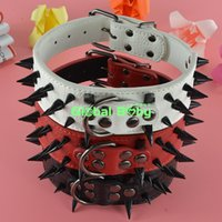 arrival pit bulls - New Arrival Leather inch Black Sharp Studded Spikes Dog Pet Collar for Pit Bull
