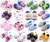 Wholesale Baby Boys Girls Spider Man Hello Kitty Mickey Minnie Mouse Rose flower Leopard soft Non slip toddler shoes Kids Babies first walker shoes