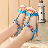 Wholesale New Summer Melting Leisure contracted Europe and the United States with diamond flat flat sandals female students
