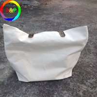 leather weekend bags - Thick and Durable pure natural cotton canvas blank tote bag with genuine cowhide leather handles for custom print weekend picnic tote bag