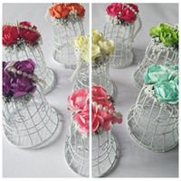 adorn packaging - Flowers Adorned Candy Boxes White Favor Holders Baby Shower Wedding Suppliers Chocolate Package Metal Sweeties Box Birdcage
