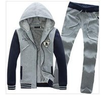 add a button - Hooded men of new fund of autumn winters is a baseball bat embroidery suit more add wool fleece coat pants