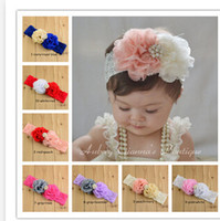 Wholesale 10 Color Infant Flower Headbands Girl Headwear Kids Baby Photography Props NewBorn Lace Hair Accessories Baby Rhinestone Hair bands A11D97