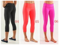 Wholesale New LULULEMON WUNDER UNDER CROP Discounted Lulu Candy Colors Crops Yoga Capris Sport Pants Legging Women capris yoga exercise Yoga Outfits