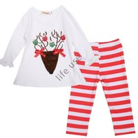 Wholesale Fashion Cute New girls Long Sleeve T shirt Pants PC Set Childrens Party Birthday Gift