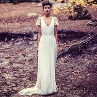 Cheap Hot New 2015 Vintage V Neck Wedding Dresses 2015 Long Boho Hippie Chiffon A-Line Lace Cap Sleeve Backless Bridal Wedding Gown Robe De Soiree