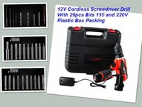 Wholesale LH V Li ion Cordless Screwdriver Drill With Bits and V Plastic Box Packing