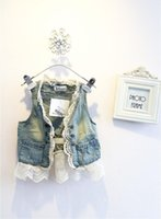 Wholesale Child denim Lace Cardigan Sleeveless Coats Girl Vest Kids Blue Denim Waistcoat Children Outwear Girls Cute Lace Waistcoats
