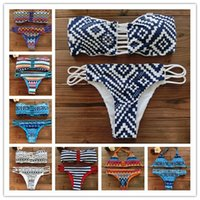 Wholesale 2016 New Fashion Women Bandeau Bikini Reversible Print swimsuit Strappy swimwear biquini trikini sexy low waist bikini set