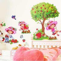 Cheap Strawberry girl stickers balloon girl swing wall stickers girl watering Strawberry Garden Wall Stickers Princess Room kindergarten decor 1p