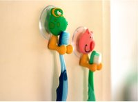 Wholesale cute Cartoon sucker toothbrush holder suction hooks Animal Design Bathroom