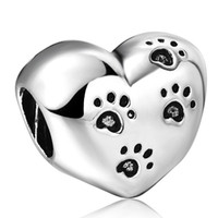 Wholesale Cute Animal Footprint Heart shaped Beads European Charms Fit For Sterling Silver Snake Chain Bracelet Fashion DIY Jewelry