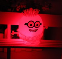Wholesale Small Plastic Robot Toy - Despicable Me Light Cute Minion Vent Ball LED Flash Ball Small stretch children LED toys Minions Vent Ball Soft Robot Doll Relax Toys