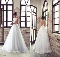 Wholesale Fashion Ball Gown Backless Spaghetti Straps Sweep Train Lace Appliqued Ribbon Sash Tulle Bridal Gown New Arrival Wedding Dress