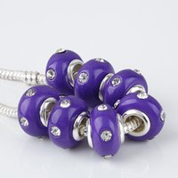 flower polymer clay beads - Clear Rhinestone Crystal Dark Purple Polymer Clay Rondelle Loose Spacer Big Hole Charms Beads For European Bracelet Making
