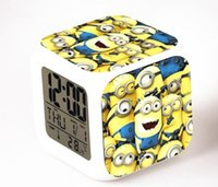 Wholesale High Quality Lovely Minion Alarm Clock With Changing Colors Cute Cartoon LED Clock Students Clock