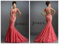 evening sequins beaded dresses - 2015 Mermaid Janique Evening Dresses Sheer Bateau Backless Capped Sleeveless Coral Applique Sequins Beaded Prom Dresses Mother Dresses
